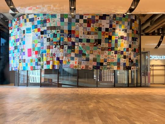 Our Year 6 students patchwork is now hanging in Kulturhuset